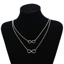 Gold Silver plated Double Infinity 8 Shape Pendant Necklace Double Layer... - $10.99