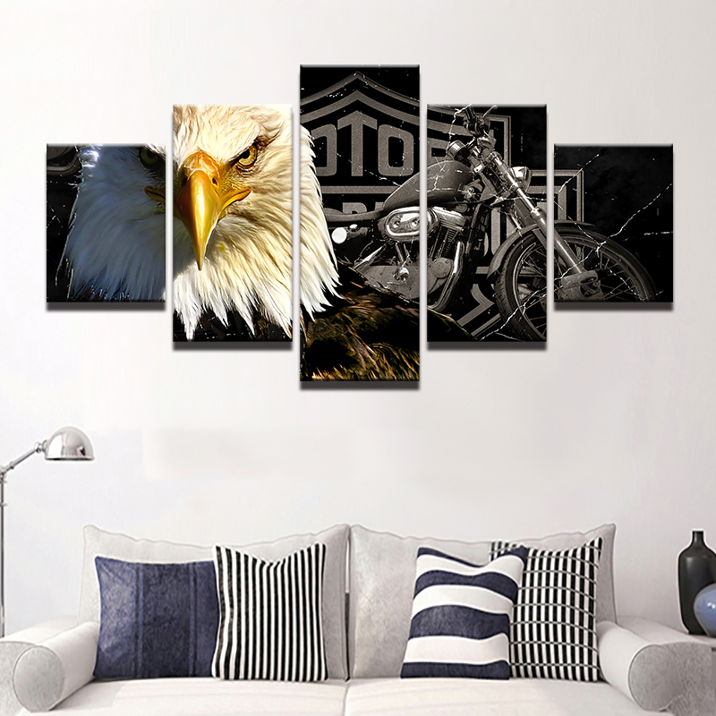 5pcs Eagle Harley Davidson Bike Printed Canvas Wall Art Picture Home Decor, used for sale  USA