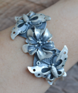 sterling silver cuff bracelet, butterfly bracelet, silver bracelet, B226 - $229.99