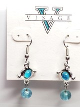 Visage Vintage Earrings Dangling Drop Turquoise Color Glass Bead Fish Hook  - $15.30