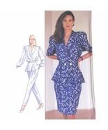 1980s Vtg Simplicity Sewing Pattern 8431 Peplum Blouse Pants Skirt 10 UNCUT FF - $8.95