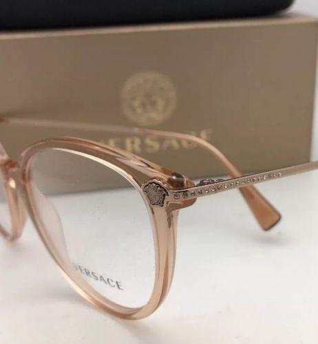 cb8994a4fc New VERSACE Eyeglasses MOD.3251-B 5215 Brown Transparent Frame w Medusa-