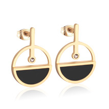Round Drop Earrings Gold & Black Shell Earings For Women Fashion Korean ... - $13.16