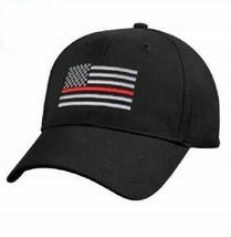 Black USA Thin Red Line Cap Low Profile Hat Support Fire Dept First Resp... - $21.77