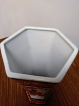 Vintage Tong -Chi Chinese Orange White Porcelain Green & Gold Leaves 6 Sided Vas image 5
