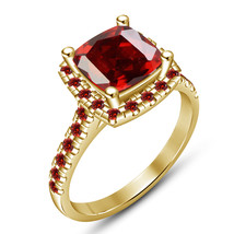 Cushion Cut Red Garnet Womens Engagement Ring Yellow Gold Finish 925 Rea... - £53.45 GBP