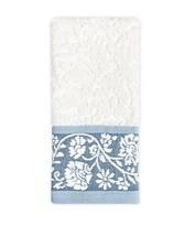 Colordrift Bastille Floral Fingertip Towel in Aqua - $10.68