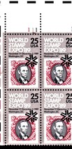 USPS Stamps - World Stamp Expo Plate Block 25 cent stamps 1989 - $2.70
