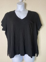 Madewell Womens Plus Size 3X Black Pocket T-Shirt Short Sleeve V Neck - $19.32
