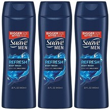 Suave Men Body Wash, Refresh, 15 Fl Ounce (Pack of 3) (15 Ounce (Pack of 3)) - $18.06