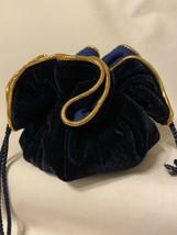 Navy Gold Velvet Drawstring Jewelry Pouch Storage Bag - $15.00