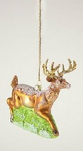 Cody Foster Leaping Stag Christmas Ornament Hand-Blown Glass Deer Buck - $47.09
