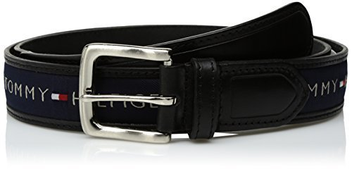 Tommy Hilfiger Men's Ribbon Inlay Belt, Black/Navy, 38