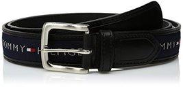 Tommy Hilfiger Men's Ribbon Inlay Belt, Black/Navy, 38