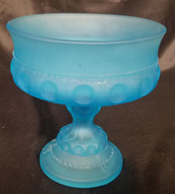 VINTAGE INDIANA GLASS BLUE SATIN MIST KINGS CROWN PEDESTAL COMPOTE - $13.50