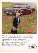 Vintage 1964 Magazine Ad Ford My Daddy Gets A Big Charge Out Of Our Fairlane - $5.93