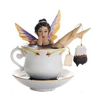Whimsical Fairy Enjoying Bath In Tea Cup Collectible Figurine 5.75H - £25.03 GBP