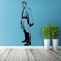 (25'' x 47'') Star Wars Vinyl Wall Decal / Obi Wan Kenobi with Blue Lightsaber D - $38.10