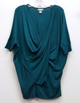 NEIMAN MARCUS Size S Blue Teal Cowl Neck Draped Wrap Knit Sweater Top - $42.99