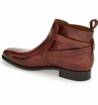 Handmade Men's Brown Jodhpurs High Ankle Monk Strap Leather Boots image 2