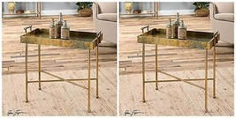 TWO NEW OXIDIZED COPPER SHEETING ACCENT END TABLES TRAY STYLE TOP MODERN... - $435.60