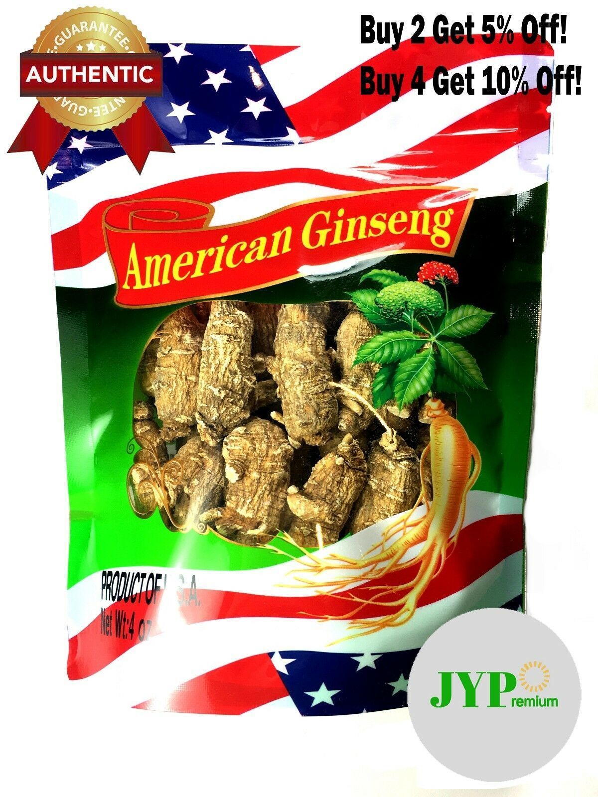 100% Extra Large American Ginseng Root, Main Root, Ultra Quality (4oz/8oz/16oz)
