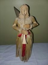 """Vtg Hand Carved Angel   Trumpet Primitive Solid & Splint Wood  13 1/2"""" Tall - $42.00"""