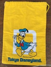 Donald Duck Bright Yellow Lined Cloth Draw Bag Japan Tokyo Disneyland Disney - $14.49