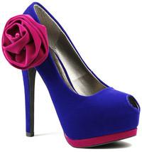 Royal Blue Fuchsia Pink w Side Bow Velvet Peep Toe Platform Pump Qupid T... - $9.99