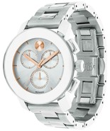 Movado Unisex Bold Chronograph Stainless Steel Silver Sunray Dial Model ... - £236.22 GBP