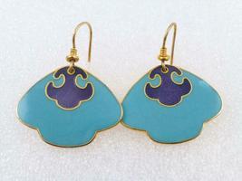 LAUREL BURCH Turquoise Blue Enamel Gold-Tone Drop Dangle EARRINGS - FREE... - $25.00