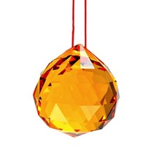 """YELLOW FENG SHUI HANGING CRYSTAL BALL 1.5"""" 40mm Sphere Prism Gold Sun Ca... - $6.88"""