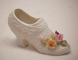 Old Vintage Mini Lefton Shoe w Purple Pink Yellow Flowers KW299 Shadow Box b - $9.89