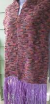 """PURPLE FRINGE HIPPIE CROCHETED NUBBY TWEED BLANKET SCARF 74"""" x 10"""" HANDMADE - $14.24"""