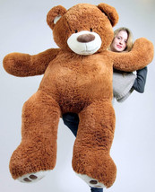 5 Foot Very Big Smiling Teddy Bear Five Feet Tall Caramel Color with Big... - $97.10