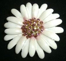 Monet Floral Brooch Pin   White Enamel & Pink Rhinestones - $18.70
