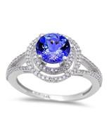 1.58ct Genuine Tanzanite & Round Diamond Halo Style Solitaire Engagement... - $640.87