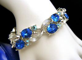 Vintage Lisner Brilliant Blue AB Rhinestone Bracelet Silver Tone Near Mint - $68.81