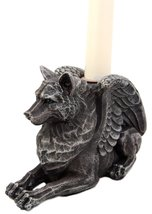 Atlantic Collectibles Stoic Guardian Winged Wolf Gargoyle Gothic Candleh... - $19.99