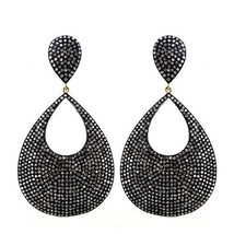 5.7ct Diamond Pave 925 Silver Dangle Drop Earrings 14k Gold Vintage Look... - $1,515.18