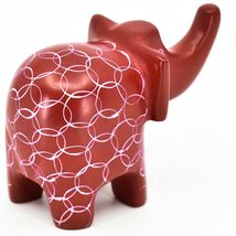 Vaneal Group Hand Carved Kisii Soapstone Red Elephant Figurine Made in Kenya image 4