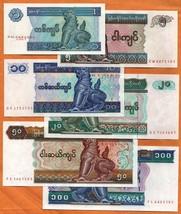 MYANMAR BURMA 1995-96 Set 6 UNC Banknotes: 1,5,10,20,50,100 Kyats P- 69-74 - $2.75