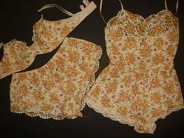 Victoria's Secret 34C,34DD Bra Set+Romper+Shorts Ivory Beige Orange Floral Lace - $98.99