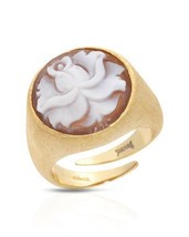 14K/925 Gold plated Silver Ring  With Genuine Cameo . - $236.61
