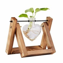 jiabang Glass Planter Terrarium with Retro Solid Wooden Stand for Hydrop... - $12.85