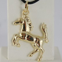 18K YELLOW GOLD ROUNDED HORSE PENDANT CHARM 32 MM SMOOTH BRIGHT MADE IN ITALY image 1