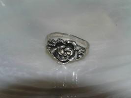 Estate 925 Marked Silver Carved Rose Flower Ring Size 6.75 – marked on i... - $13.36