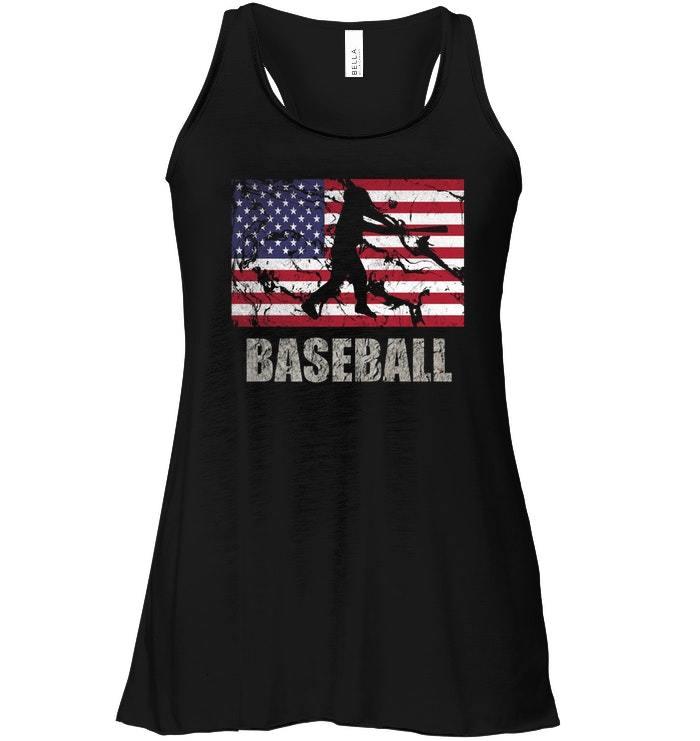 Baseball American Flag Flowy Racerback Tank USA Flag Fan Vintage Retro