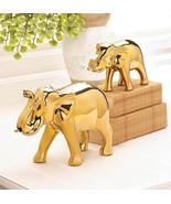 Set of 2 GOLDEN ELEPHANT Figures Large and Small Animal Safari Decor Sta... - $35.62