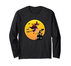 Halloween Red Head Witch Broom Cat Long Sleeve (Unisex XL|Unisex|Black) - $49.95